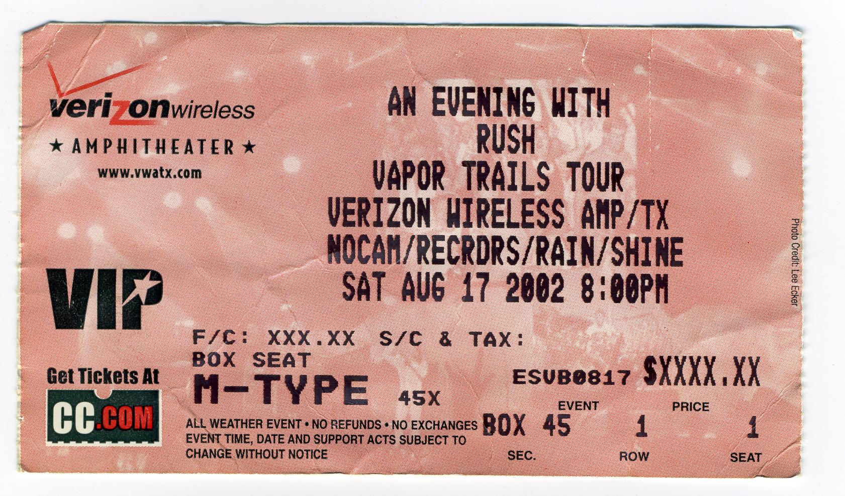 Rush Vapor Trails Tour